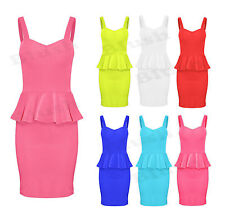 Womens Ladies Peplum Frill Sleeveless Flared Mini Bodycon Party Dress Size 8-14
