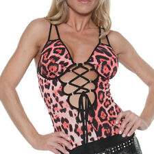 Party Top  MiSS SEXY Top rot/Leopard sexy Dekoltee Party Clubwear Bar S-M-L
