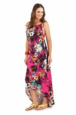 Womens Strappy Dipped Hem Maxi Full Length Summer Dress Ladies Skirt Size 8-16
