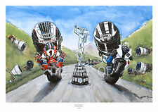 John McGuinness and Michael Dunlop 2014 Isle of Man TT cartoon fine art print