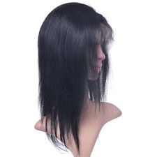 """Lace Front Wigs #1B natural black Cheap 8""""-18"""" Indian Remy Curly Human Hair"""