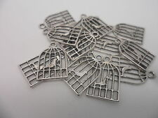 6 x Birdcage Bird in Cage Pendant,Charm,Bead Tibetan Bronze or silver 20x12x1mm