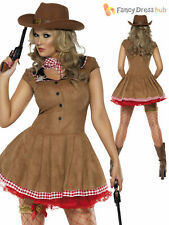 Size 8-18 Adult Ladies Sexy Cowgirl Costume Wild West Western Fancy Dress Outfit