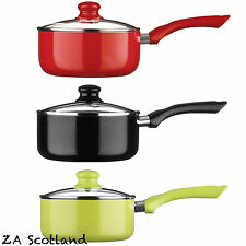 Ecocook Non Stick Saucepan with White Ceramic Coating & Glass Lids 16,18 & 20cm