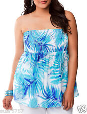 New Ladies Blue Bandeau Sleeveless Casual Summer Top Lane Bryant Size 14 - 24