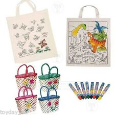 Childs Shopping Flower Woven Basket Fabric Crayons Dinosaur Butterfly Colour Bag