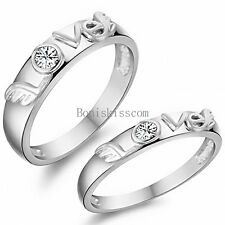 "Silver Tone "" LOVE "" Word Promise Engagement Ring Bride Groom Wedding Band"
