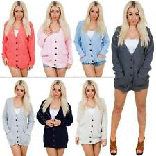 New Womens Ladies Cable Knit Knitted Baggy Boyfriend Cardigan Size XL 8 10 12 14