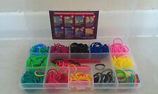 Multi Colours Rainbow Rubber Loom Bands Bracelet Making Kit Set With S-Clips