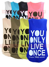 A65 NUOVO DA DONNA YOU ONLY Live Once YOLO STAMPA CANOTTA MAGLIETTA NEON RACER