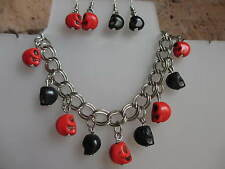 RED & BLACK  SKULL - NECKLACE, BRACELET,EARRINGS, GOTH, HALLOWEEN, WICCA,EMO