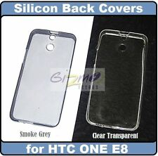For HTC One E8 Clear / Smoke Grey Soft Silicon Cover Case Pouch / Screen Guard
