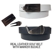 Mens Black White Real Leather Golf Belt With Marker Buckle Made In England 30mm