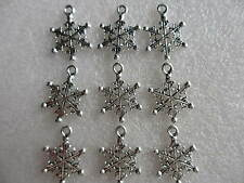 10 - 100 TIBETAN SILVER SNOWFLAKE CHARMS -  FROZEN, CRAFTS & JEWELLERY MAKING