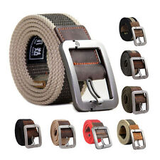 Hot Unisex UK STYLE Webbing Canvas Leather Pin Buckle Waist Belts Outdoors Belts