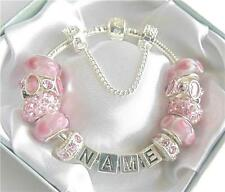 PERSONALISED LADIES/GIRLS CHARM BRACELET  ANY NAME  PINK & SILVER SPARKLE HEARTS