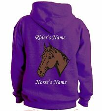 PERSONALISED HORSE PONY HOODIE HOODY CHOOSE HORSE COLOUR CHRISTMAS PRESENT