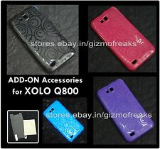 Designer Vivid Coloured Soft Silicon Back Cover Case For Xolo Q800 /Screen Guard