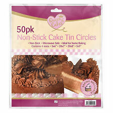 PACK OF 50 CAKE TIN GREASE PROOF PAPER CIRCLES NON-STICK LINERS X 4 SIZES