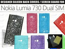 Designer Soft Silicon Back Cover Case Pouch / Screen Guard For Nokia Lumia 730