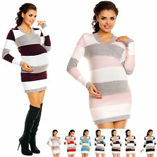 Zeta Ville Women's - Maternity Stripes Knit Jumper Dress Tunic Top V-Neck - 405c