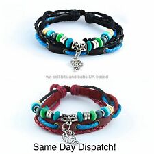 Feather MEN WOMAN leather Bracelet Braclet Wristband, Wrap, Cord Cuff With Beads
