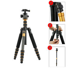 Q-666C Portable Carbon Fiber Tripod Monopod Kit Ball Head For DSLR Camera Travel