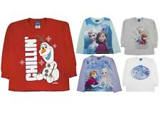 Disney Frozen Elsa Anna Olaf Long Sleeve T Shirt 100% Cotton Top Kids Size