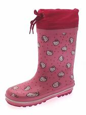 Girls Hello Kitty Tie Top Rubber Snow Boots Wellies Wellingtons Size UK 10 - 13