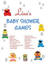 Personalised Baby Shower Games on CD   Sesame Theme   NOT PRINTED SHEETS