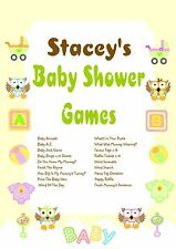 Personalised Baby Shower Games on CD   Owl Theme   NOT PRINTED SHEETS