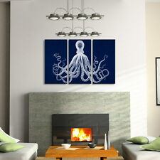 Octopus Triptych Set in navy blue - Canvas art prints Set of 3 gallery wraps