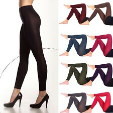 9278dadf7c7 Womens Opaque Soft Microfiber FOOTLESS Tights 60 Denier Long Length Size  S-XL