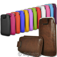 COLOUR (PU) LEATHER PULL TAB POUCH CASES FOR NEW 2015 TESCO MOBILE PHONES