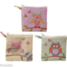 Cute OWL Coin Fabric PURSE Single Zip Synthetic Gift Idea PINK YELLOW GREEN