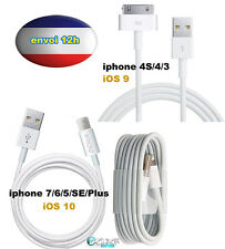 LOT CABLE USB CHARGEUR iPHONE 4S-7/6/S/SE/5/S/C/Plus iPad 1-2-3 iPod Nano iTouch