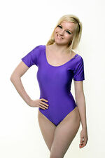 Lycra Leotard Short Sleeve Plain Front - Spandex Dance Leotard - (SIMONE)