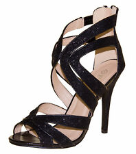 Ladies High Heel Glitter Sandals Strappy Stiletto Party Shoes 3 4 5 6 7 8