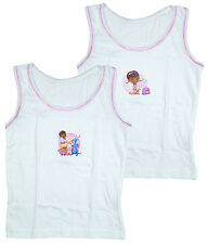 Kids White Doc McStuffins Pack of 2  Cotton Toddler Vests 18 Months to 5 Years