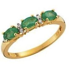 18ct Gold Plate 925 Silver EMERALD & DIAMOND Ring*Many Sizes*RRP 69.99*CLEARANCE