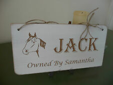Personalised Horse Name Wooden Stable Door Sign Plaque Plate Pony Equestrian
