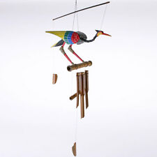 Painted Bamboo & Coconut Bird wind chimes Parrot Hummingbird Gift for Bird lover