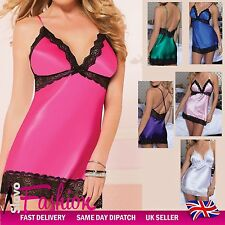 Sexy Womens Satin Sleepwear Lingerie Lady Lace Nightwear Babydoll Plus Size