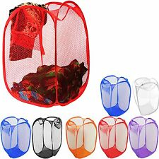 LAUNDRY BAG POP UP MESH WASHING FOLDABLE LAUNDRY BASKET BAG BIN HAMPER STORAGE.