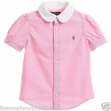 RALPH LAUREN girls 100% cotton oxford BLOUSE 3Y 6Y 6/7Y white or pink BNWT