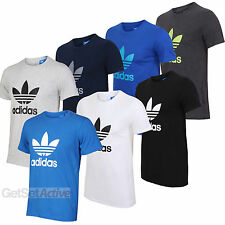 adidas Originals Mens Trefoil Cotton T-Shirt Tee White Black Navy Blue Charcoal
