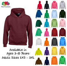 Kids Plain Blank Hoodie Boys Girls Childrens Pullover Hoody Ages 3-15 40+ Colour