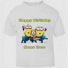 New Personalised Happy Birthday Minion T-Shirt Boys Girls Top Age Size Cute Gift
