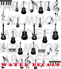 WATER Decals CHITARRA PIANO GUITAR NOTA STICKERS UNGHIE NAIL ART ADESIVI TATTOO