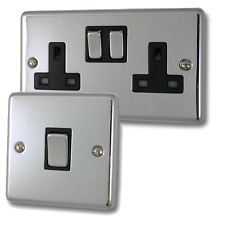 Polished Chrome Sockets and Switches with Black Inserts and Matching Switches